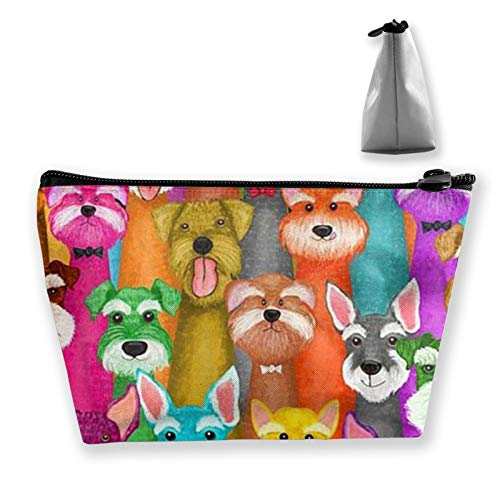 Unisex Toiletry Bags Casual storage bag Travel Small makeup pouch Colorful Oil Cute Schnauzer Dogs Travel bags for Best Friends Wife Mom Grandma