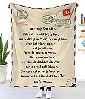 マイクロファイバー 快適なギフトスローブランケット オランダ語で 娘へ メッセージフランネルの毛布 パーソナライズされたキルト ソファーベッドチェアのために,A,140*180cm
