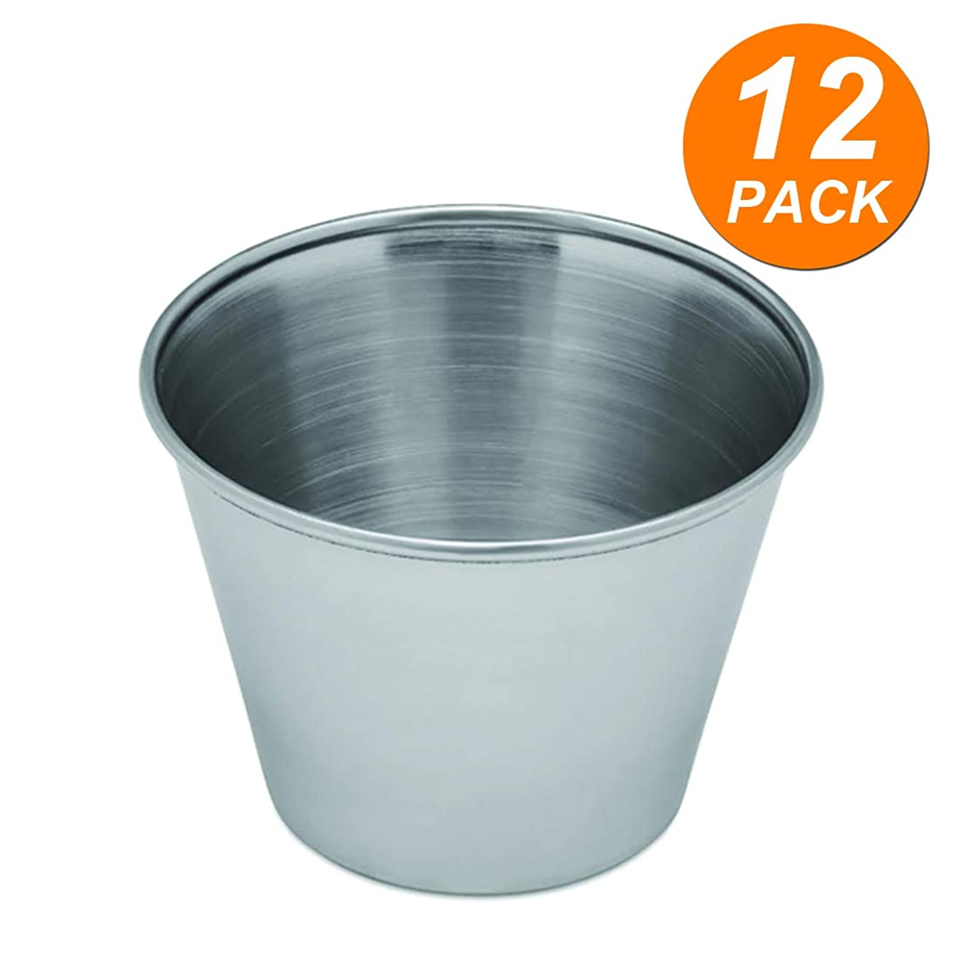 [12 Pack] Stainless Steel Condiment Sauce Cups, 2.5 oz. - Great for Dipping and Portion Cups