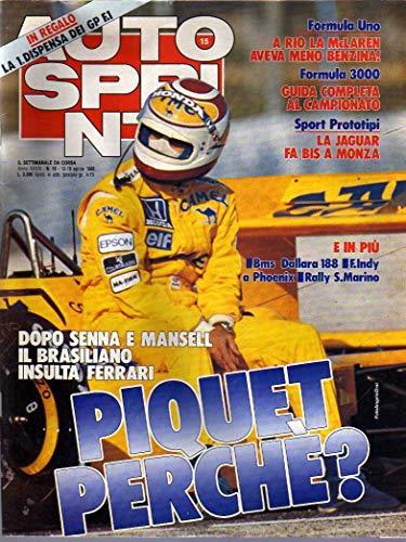 Autosprint 15 aprile 1988 Piquet dopo Senna e Mansell insulta Ferrari