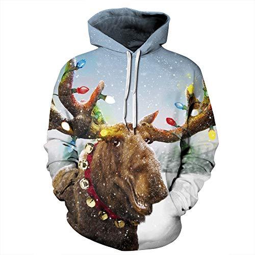 Heymiss Unisex Hooded Ugly Christmas Sweater Hoodie 3D Digital Print Sweatshirts Reindeer L