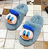 B/H Interior Casa Caliente Slippers,Zapatillas de Felpa cálidas de Talla Grande, Zapatillas de algodón de Pato de Dibujos Animados-Azul Claro_37,Nvierno Hombre Pantuflas