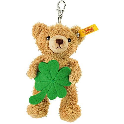 Steiff Schlüsselanhänger Teddybär Glücksbringer - 12 cm - Teddy mit Kleeblatt - weich & waschbar - goldbraun (111877)