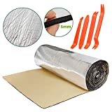HOMCHEK 5mm 197mil 21.53sqft Car Heat Shield Sound Deadening Insulation Mat with 4pcs Auto Trim Panel Removal Tools Installer Pry Tool Noise Control Sound Dampening Automotive Insulation 40' × 80'