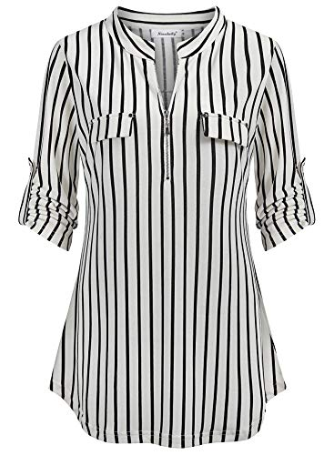 Ninedaily Stripe Blouses for Women Fall,2021 Casual Work Clothes for Women Office,Elegant Ladies Tops Long Sleeve Fall Fashion 70s Tops Neck Flattering Plus Size Blouse Black Day Time Casual, L