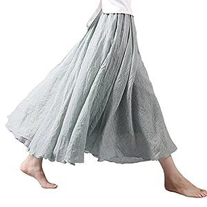 Tomwell Mujeres Estilo Bohemio Cintura A-Line Cintura Alta Color Solido Elástica De Lino Maxi Falda Maxi Swing Skirt | DeHippies.com