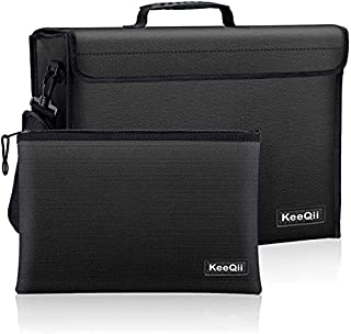 KeeQii Fireproof Bag,17 x 12 x 5 inch Large Fireproof Document Bags, Waterproof and Fireproof Lock Box Safe Bag for Docume...