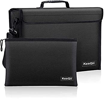 KeeQii Fireproof Bag,17 x 12 x 5 inch Large Fireproof Document Bags Waterproof and Fireproof Lock Box Safe Bag for Document Laptop,Money and Valuables with Zipper Closure