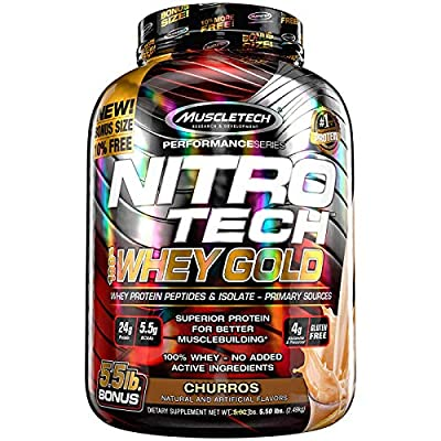 MuscleTech NitroTech Whey Gold, 100% Whey Protein Powder, Whey Isolate and Whey Peptides
