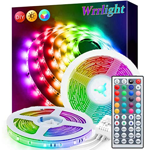 Led Strip Lights, Wrrlight 32.8Ft Waterproof RGB Light Strip Kits with Remote for Room, Bedroom, TV, Kitchen, Desk, Color Changing Led Strip SMD5050 with 3M Adhesive and Clips, 12V Power Supply