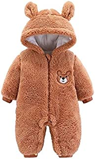 BW 6M Baby boy Winter Clothes Newborn Infant Baby Boys Girls Jumpers Winter Long Sleeve Cartoon Fleece Hooded Romper Jumpsuit Outfits