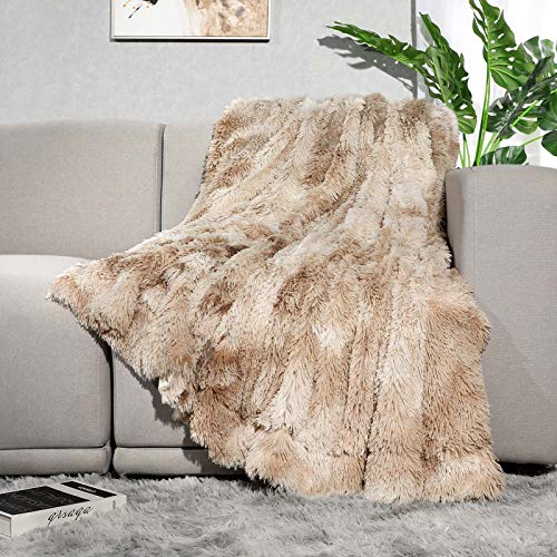 Lvylov Decorative Soft Fluffy Faux Fur Throw Blanket 50' x 60',Reversible Long Shaggy Cozy Furry Blanket,Comfy Microfiber Accent Chic Plush Fuzzy Blanket for Sofa/Couch/Bed,Breathable & Washable,Beige