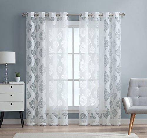 "HLC.ME Adel Damask Burnout Window Sheer Voile Curtain Grommet Panels for Living Room - Set of 2-96"" inch (White)"