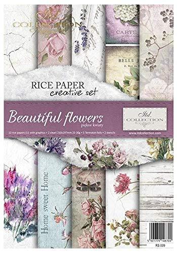 ITD Collection - Carta di Riso Set Creativo A4, Decoupage Scrapbooking, 29,7 x 21 cm Multicolore (Beautiful Flowers)