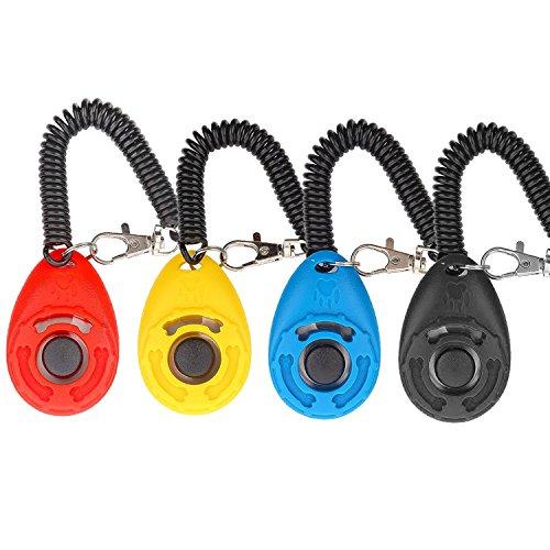 Hunde Klicker, [4 PCS, Multi-Color] Diyife Training Klicker mit Handschlaufe, Klicker mit Großem Knopf, für Hund, Katze, Pferd, etc.
