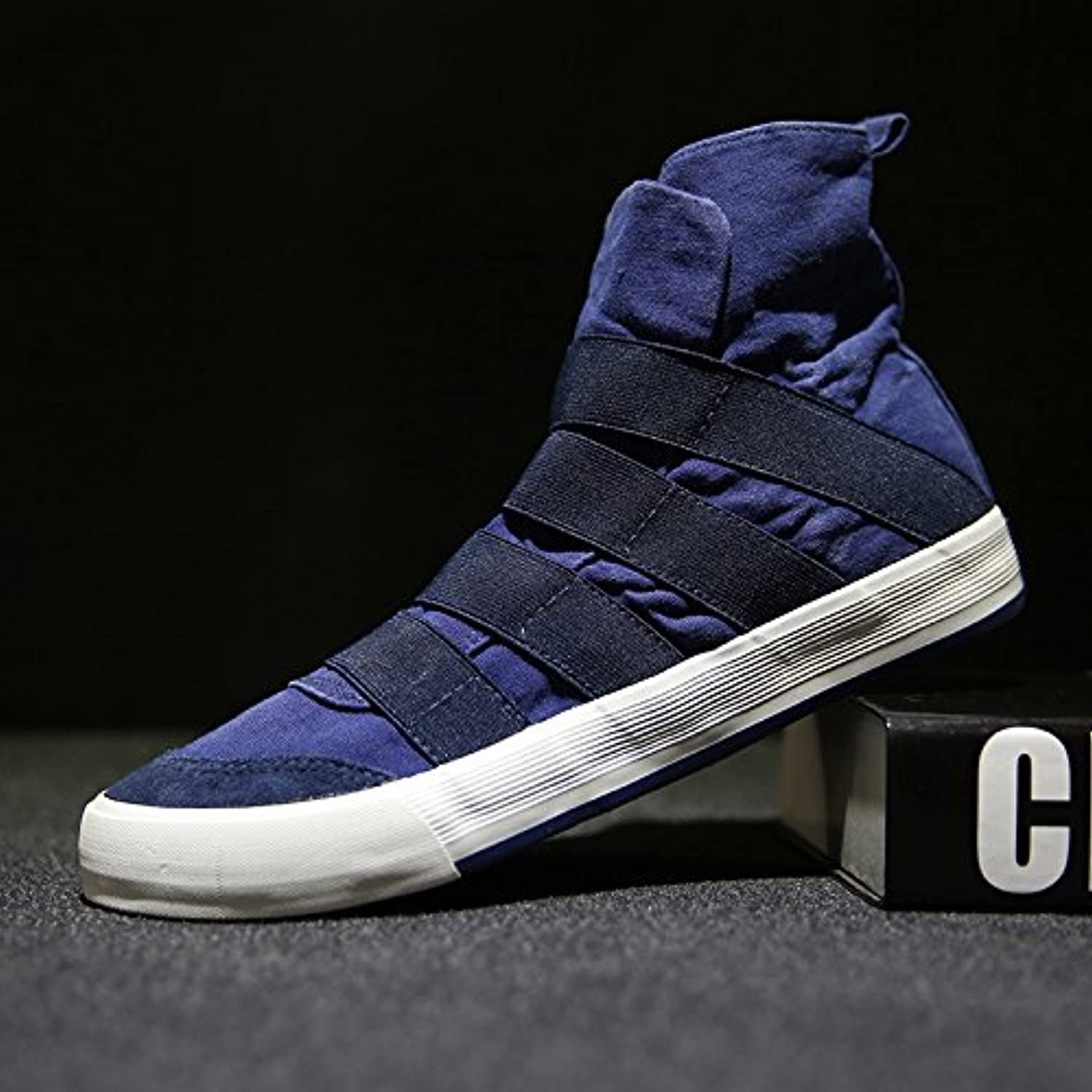Fashion casual shoes are high canvas shoes to help young people all-match comfortable leisure canvas shoes,bluee,Forty