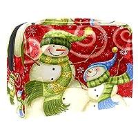 女性用コスメティックバッグ クリスマス雪だるまの漫画 ゆったりとした化粧ポーチトラベルトイレタリーバッグアクセサリーオーガナイザー