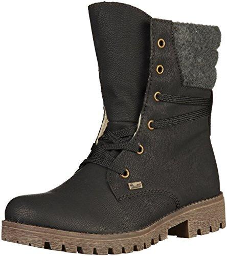 Rieker Damskie buty 78531 Boots, sznurowane, buty, Czarny czarny antracyt 00, 39 EU
