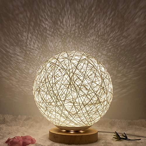 Kugel Holz Rattan LED Tischlampe Holz Tischlampe Nachttischlampe USB Mond Lampe Natürliche Rattan Handgestrickter Lampenschirm Nachtlicht für Schlafzimmer Wohnzimmer, Studio, Café (Weiß)