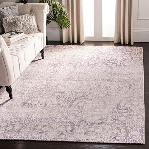 Safavieh Passion Collection PAS403A Vintage Distressed Area Rug, 4' x 5'7', Lavender / Ivory