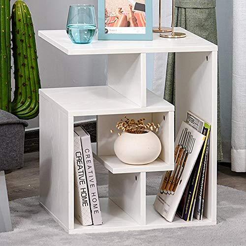 BAKAJI Libreria Bassa Scaffale 4 Ripiani in Legno MDF Tavolino caffè Laterale Divano Design Moderno Arredamento per Soggiorno Salotto Casa o Ufficio Dimensione 45 x 40 x 55 cm (Bianco)