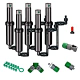 Quick-Snap QSK-745 In-Ground 5-Inch Pop-Up Adjustable Sprinkler 5-Pack With Quick Hose Connectors And Splitters