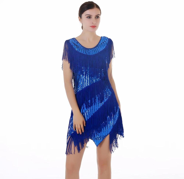 Byjia Paillette Tassel Latin Dance Dresses