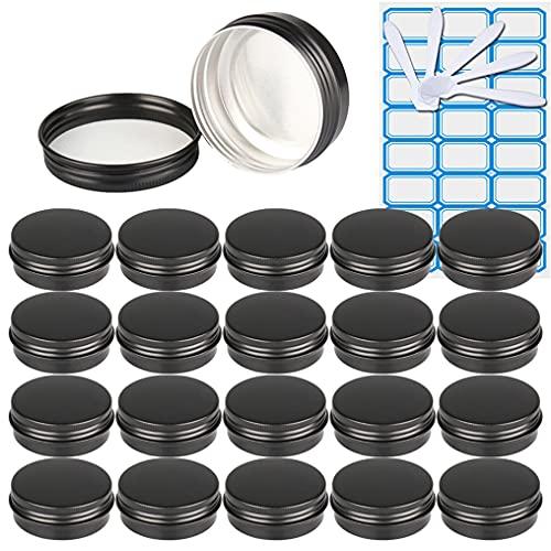 ZEOABSY20 Piezas Tarros de Aluminio con Tapa Rosca 30ml, Negro Mate Tarros de Aluminio Vacíos Redondo para Contenedor De Cosméticos CremasCaja de almacenaje con5 Espátula y 1Etiqueta