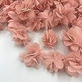 2 yardas = 24 piezas de flores 3D de gasa en racimo Flores Vestido de encaje...
