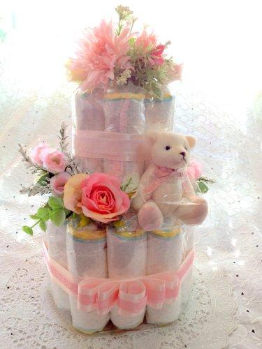 おむつケーキ 2段 ピンク Mサイズ 人気�bP シンプルで可愛い 結婚祝いにも