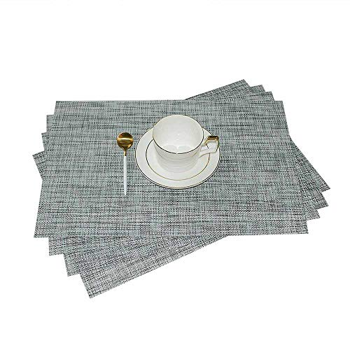GIVERARE Placemats Set of 4, Heat-Resistant Woven Vinyl Placemat, Non-Slip Washable PVC Table Mat, Easy to Clean Premium Plastic Table Mats for Dining Table, Kitchen Table (Smoky Gray)
