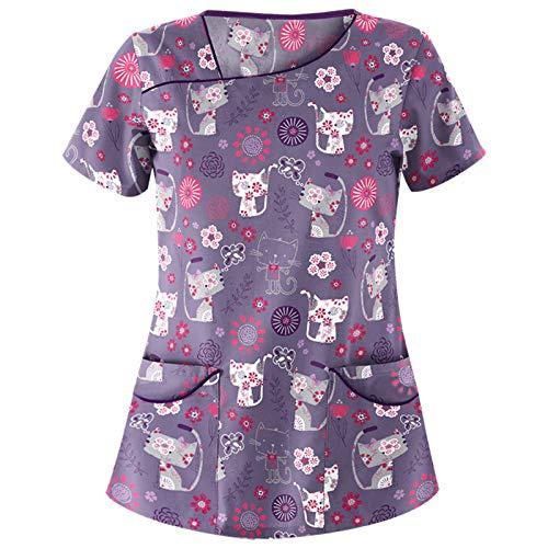 Blusa de manga corta para mujer con cuello en V, para trabajo, con estampado de animales, de manga corta, para regalo, túnica A5-purple XL
