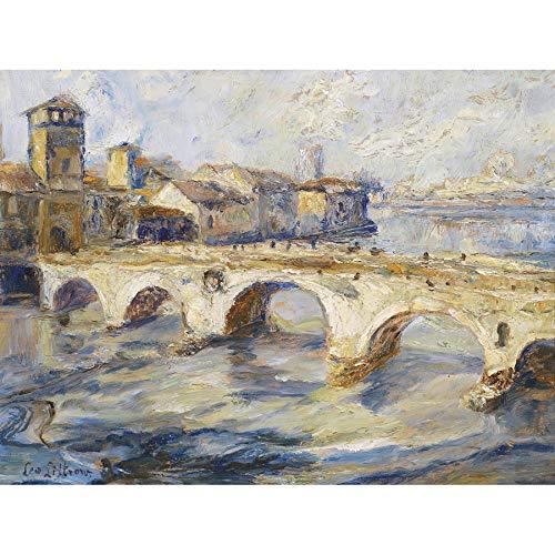Littrow Ponte Pietra Bridge Verona Italy Painting Unframed Wall Art Print Poster Home Decor Premium