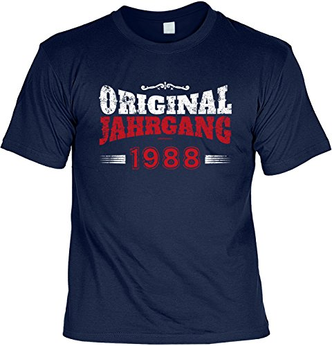 "Art & Detail Shirt - Camiseta divertida con texto en alemán ""Orignal Jahrgang 1988"" azul marino L"