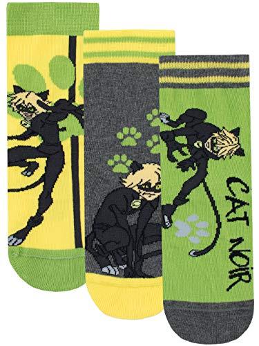 Miraculous Calzini Confezione da 3 per Ragazzi Cat Noir Multicolore 37/40