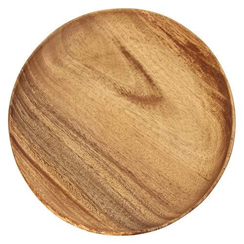 不二貿易 アカシア ラウンドトレー XL 幅25.4×奥行25.4cm ブラウン 30148