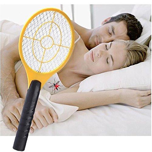 Hffan Moskito Mörder Elektrisch Tennis Fledermaus Handheld Schläger Insekt Fliegenwanze Wasp Swatter Electric Bug Zapper Mosquito Swatter Killer Schläger für Innen und im Freien (45*16cm, zufällig)