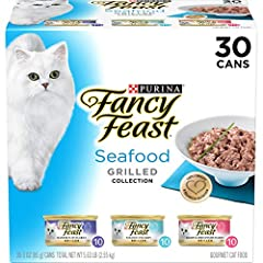 Thirty (30) 3 Oz. Can - Purina Fancy Feast Grilled Seafood Collection Wet Cat Food Variety Pack Provides 100% Complete And Balanced Nutrition Contains Vitamins And Minerals To Help Promote Feline Health Grilled And Basted In Savory Gravy For A Gourme...
