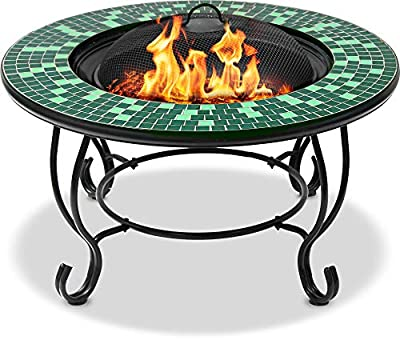 MDA Designs AVIATOR Prestigious Garden & Patio Fire Pit, Coffee Table, Barbecue and Ice Bucket Completed with Emerald Green and Black Glass Mosaic Tiles by MDA Designs