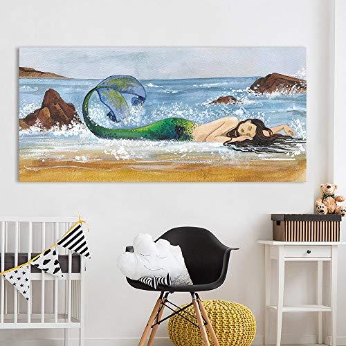 YuanMinglu Wandkunst Fisch Mädchen Strand Druck Ölgemälde Hauptdekoration Leinwand Bild Wohnzimmer rahmenloses Gemälde 75x162cm