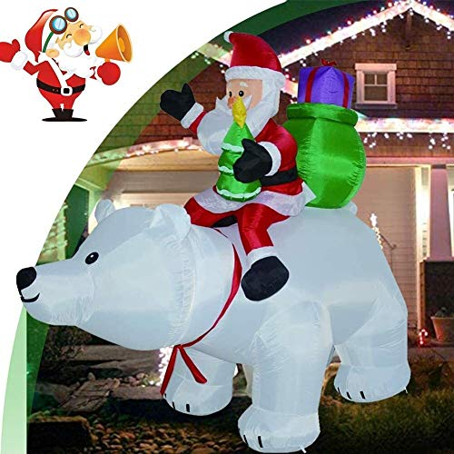 WishY Christmas Inflatables Santa Claus, 6 FT Self-Inflated Santa Claus Riding Head Shaking Giant Polar Bear Waterproof with LED Lighting Christmas Decorations for Indoor Outdoor Garden Party Gift