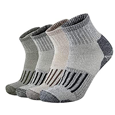 ONKE Men's Merino Wool Moisture Wicking Control Outdoor Ankle Running Hiking Cushion Low Cut Socks(MixColor XL)