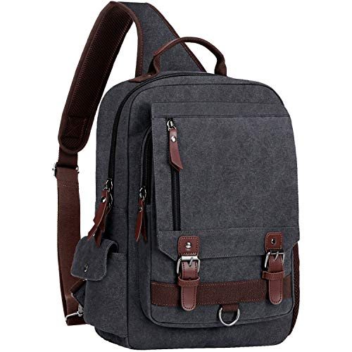 WOWBOX Sling Bag for Men Women Sling Backpack Laptop Shoulder Bag Retro Canvas Crossbody Messenger Bag Fit 13.3' Laptop Tablet