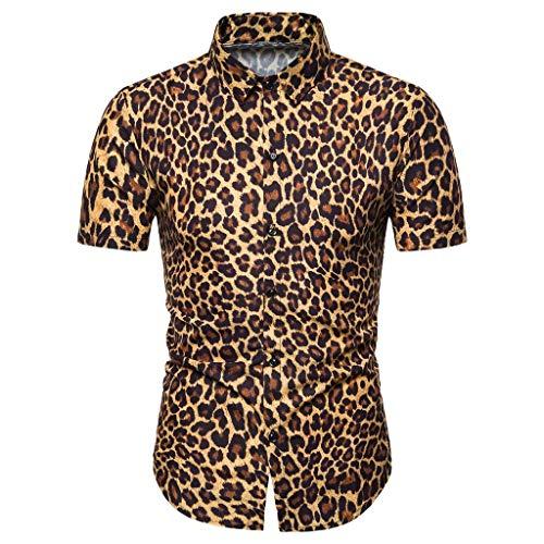 Proumy 2019 Neu Sommer Herren Slim Fit Hemd Mode Leopard Drucken Hemden Atmungsaktiv Revers Kurzarmhemd Freizeit Einreihig Taste Hemd (XL, Yellow)