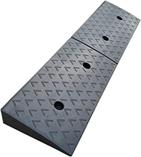 PPCP Kerb Ramp, Threshold Ramp Black Non-Slip Rubber Material Wheelchair Ramp Mobile Ramp with Drain for Entry Threshold P...