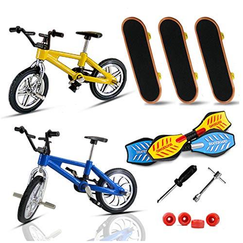 henai Juego de mini patinetas y bicicletas para dedos, juguetes para diapasón con herramientas y kit de ruedas de repuesto Juego creativo de movimiento de la del dedo para niños de fiesta de judicious