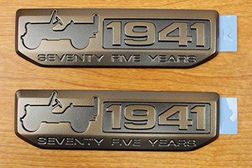 Jeep Wrangler Set Of 2 Willys 75th Anniversary 1941 Emblem Badge OEM