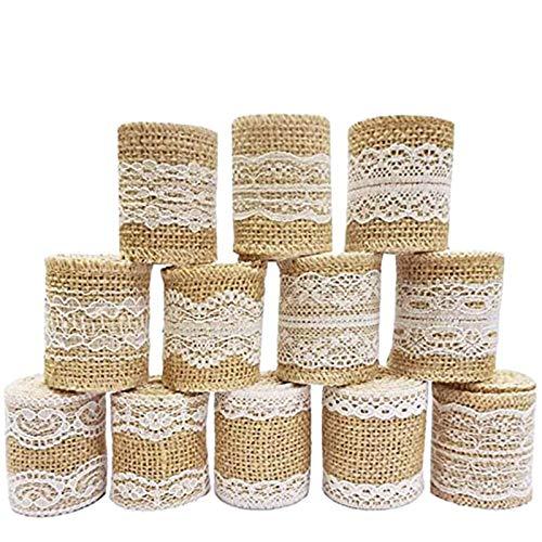12 piezas Rollo de cinta de artesanía de arpillera de Encaje Blanco natural (1M / pieza),Rollo de cinta de artesanía de yute de Encaje Blanco,Hecho de cinta de yute natural y encaje de seda blanco.