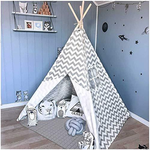 TSWCBYY Kinder-Tipi-Spielzelt, Tipi-Zelt Für Kinder Kinder-Spielzelt Für Den Innen- Und Außenbereich, Graue Leinwand (160 cm Hoch)