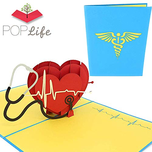 PopLife Medical Pop Up Card, 3D Heart Card for Doctors, Nurses, EMTs - Pop Up Valentines Card - Anniversary Pop Up Mother's Day Card, Happy Birthday - Fold Flat for Mailing - Hospital Thank You Card